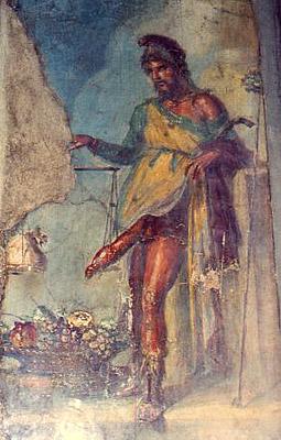 10 La pesée du phallus, Priape maison des Vettii, Pompei