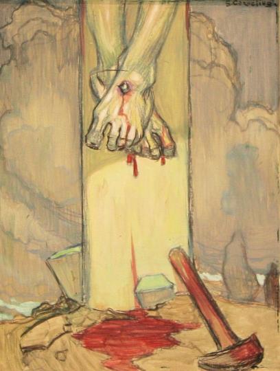 25 Les pieds du crucifié, Jean Georges Cornelius, xxe s