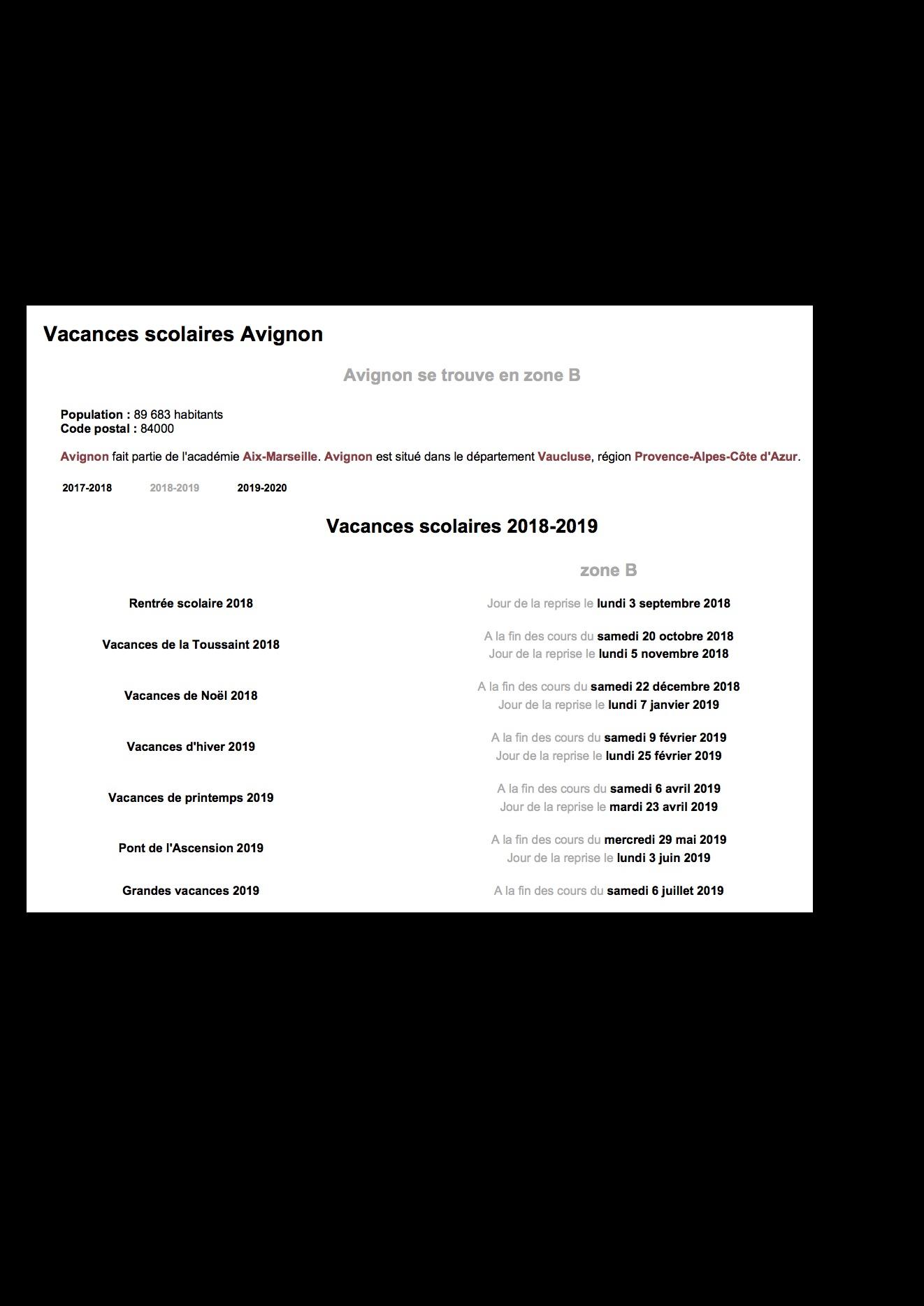 Vacances scolaires avignon 2018 2019 copie